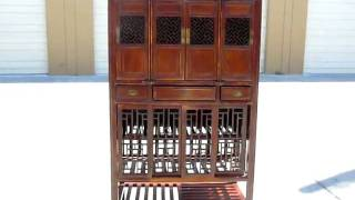 Chinese Antique Hand Carving Panel Screen Kitchen Cabinet Wk1742
