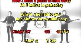 Yesterday Beatles Best Karaoke Instrumental Lyrics Chords