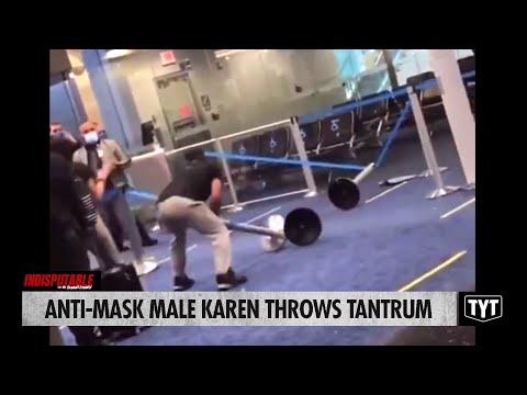 Anti-Mask Male Karen Throws Tantrum In Airport (He needs some Milk?)