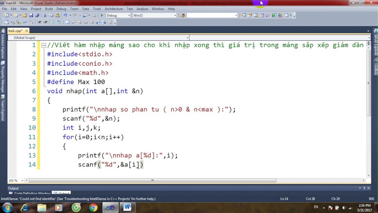 bài tập lập trình c-bài 98-Viết hàm nhập mảng sao cho nhập xong thì gt trong mảng sắp xếp giảm dần
