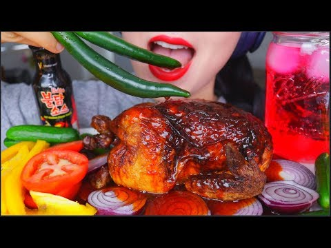 asmr-eating-whole-rotisserie-chicken-fire-sauce-onion-chilli-peppers-veggies-|-咀嚼音-먹방