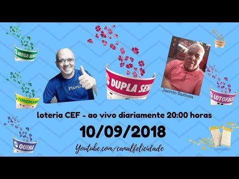 Resultados 10/09/2019 - ao vivo - QUINA - DIA DE SORTE - Lotomania - Dupla sena - Timemania