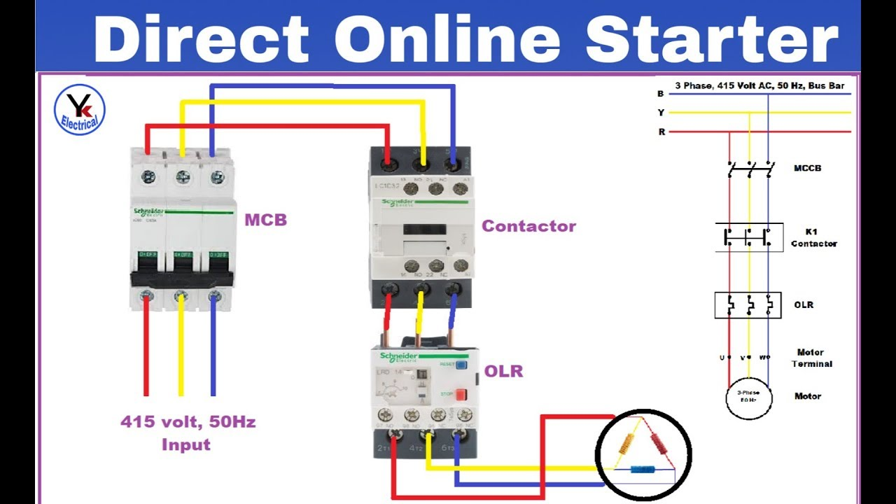 dol starter control and power wiring diagram dol starter connection in hindi yk electrical  3 phase starter wiring diagram for 120v #15