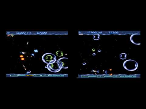 speed comparison gradius 3 snes regular (left) with speed sa-1 patch by vitor vilela (right)