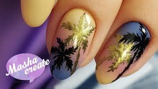 Маникюр на море: ПАЛЬМЫ на ногтях :) Летний маникюр 2018 с градиентом. Простой дизайн ногтей