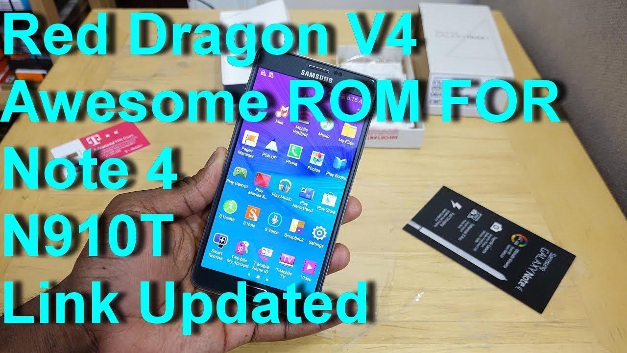 Red Dragon Custom rom flashing on N910t Galaxy Note 4(Superb Rom)