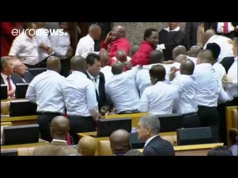 Scuffles break out in South African parliament