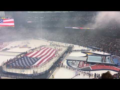 National Anthem / 2017 NHL Winter Classic / Spencer Ludwig on the trumpet / Let's Go Blues Chant!!