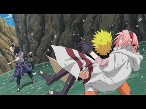 Kakashi And Naruto Saves Sakura From Sasuke After He Tries To Kill Her Twice - HD