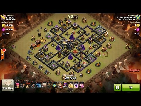 Clash of Clans TH9 vs TH9 Golem, Wizard, Lava Hound & Balloon (GoWiLavaloon) Clan War 3 Star Attack