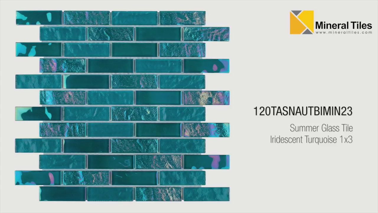 summer glass tile iridescent turquoise 1x3