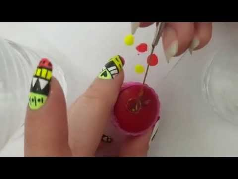 Neon aztec nail art with dreamcatcher tutorial :)