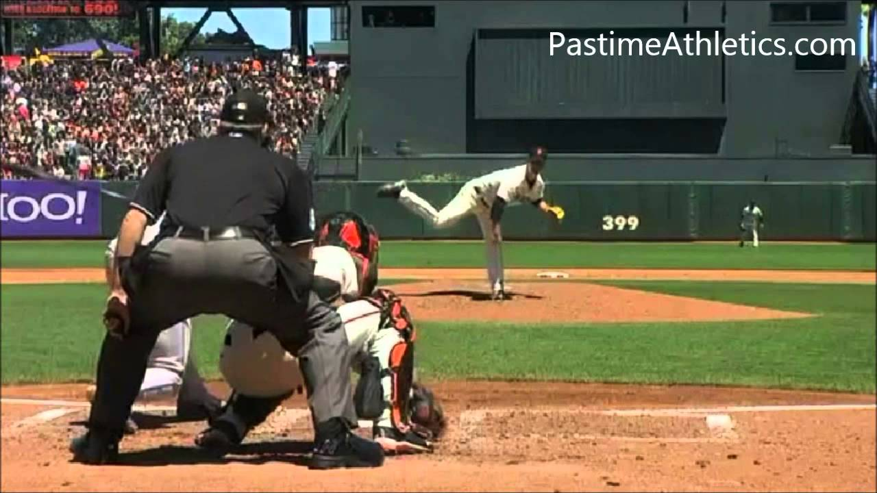 Slow Motion Baseball Swing >> Matt Cain NASTY CURVEBALL Slow Motion Strike Out Baseball Pitching Mechanics Giants MLB Video ...