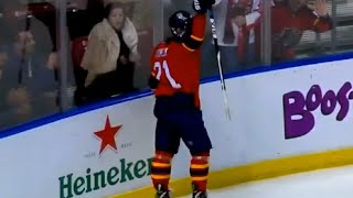 Trocheck Hits the Post then Celebrates thinking he scored