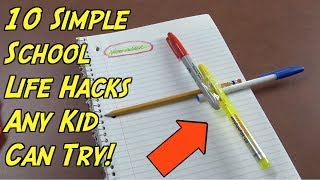 10 School Hacks That Any Kids Can Try- Simple Life Hacks For Kids (Back To School Hacks)
