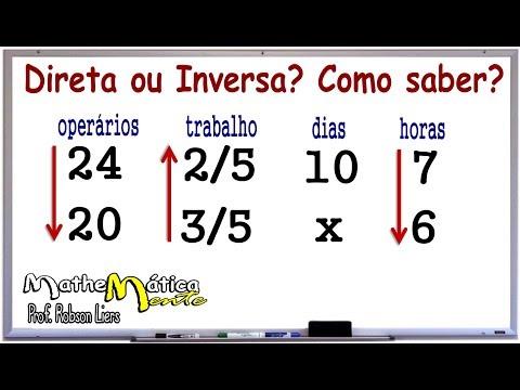 REGRA DE TRÊS COMPOSTA - DIRETA OU INVERSA? COMO SABER? Prof. Robson Liers from YouTube · Duration:  9 minutes 36 seconds