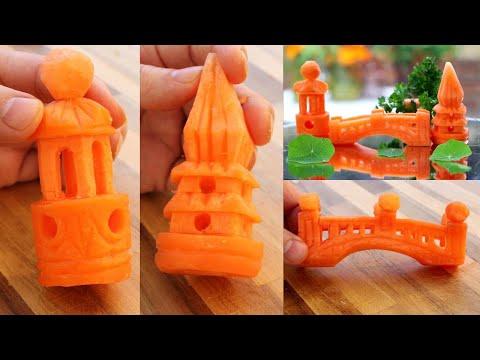 3 Super Salad Decoration Ideas - 3 Carrot Carving Garnish