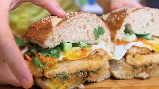 Banh Mi Fried Chicken Schnitzel With Soft Pretzel Bun
