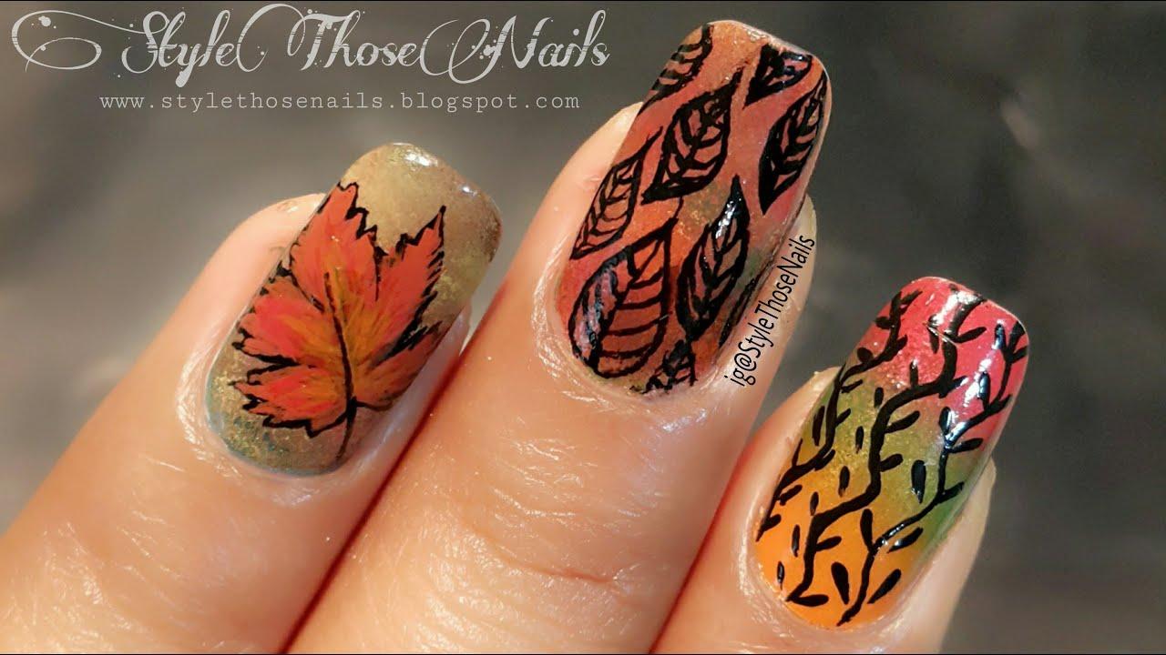 Fall/Autumn Nails - 3 in 1 Nail Art Ideas #1 - YouTube