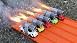 HOT WHEELS SUPERCAR ROCKET POWERED RACE !! Ferrari vs Lamborghini vs Porsche vs Audi R8