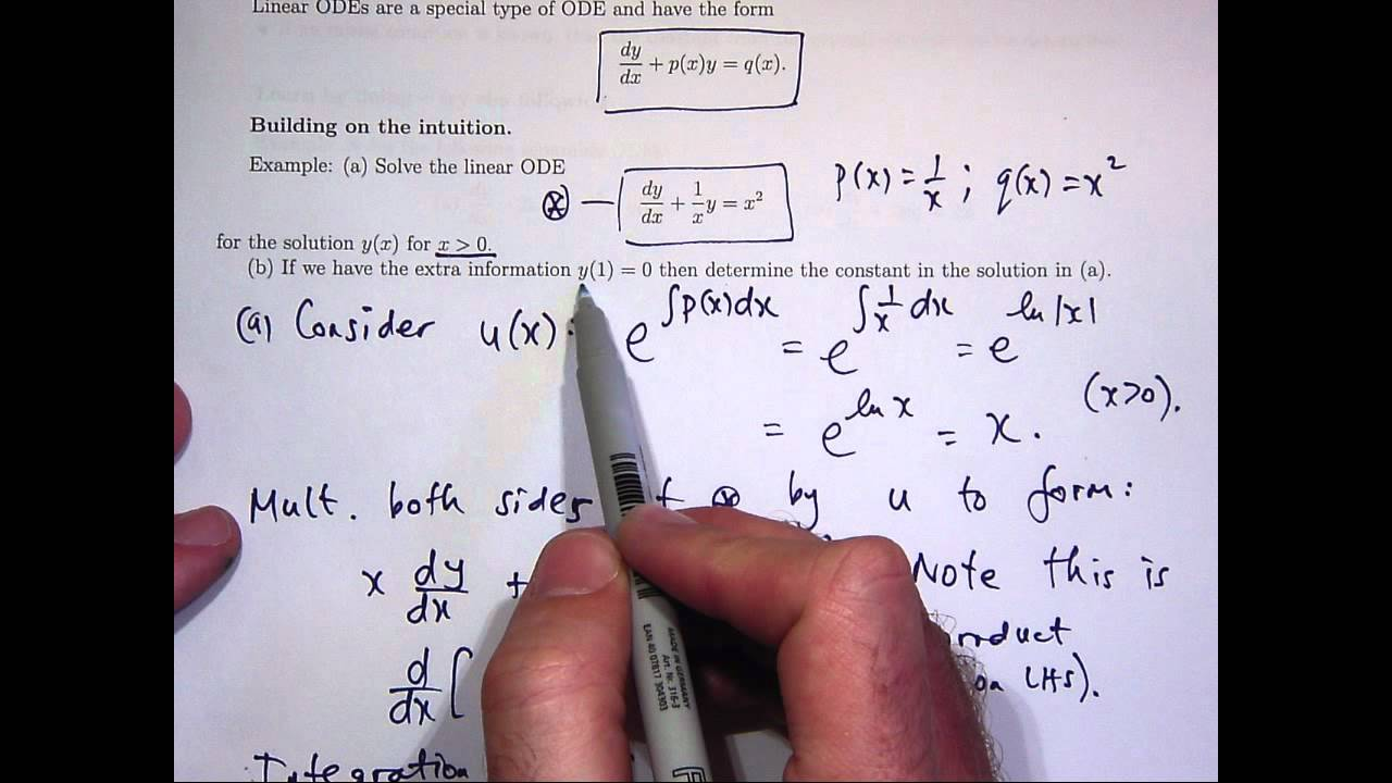 Linear First Order Differential Equations Youtube