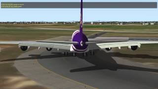 X Plane 10 Thai Airways A380 take off from Amsterdam