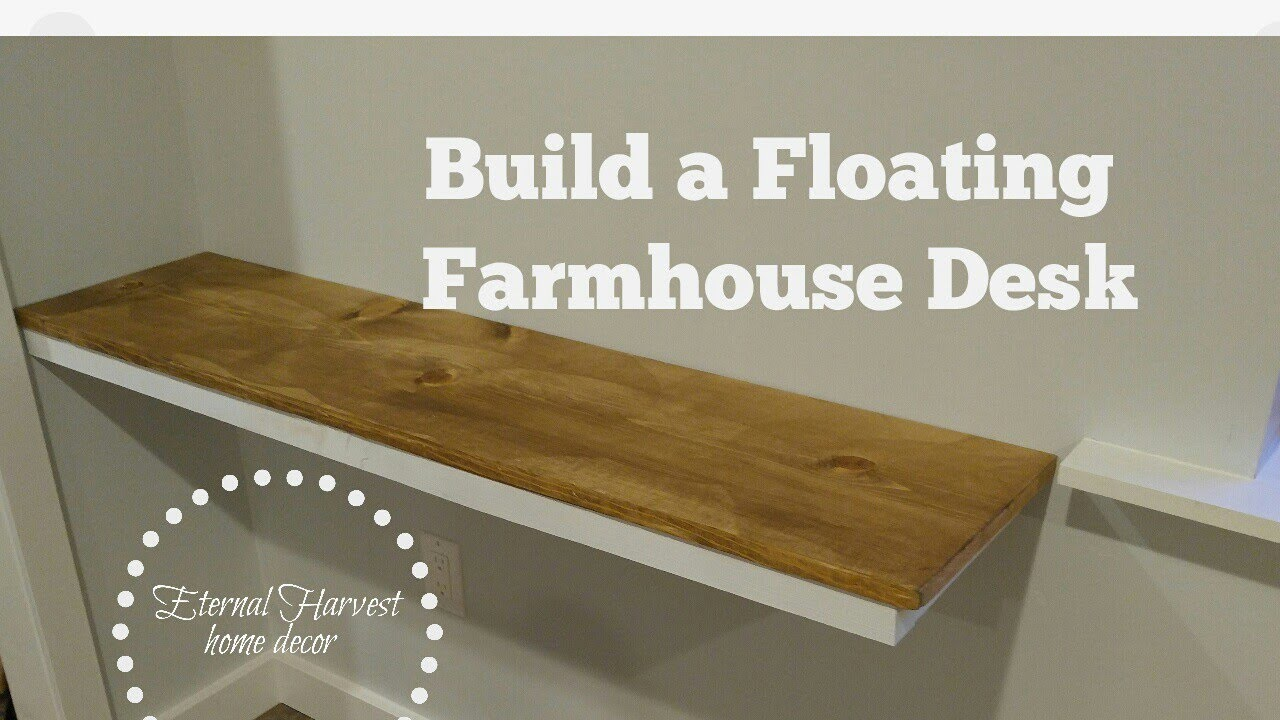 How to build a farmhouse floating desk, DIY - YouTube