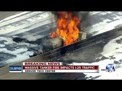 Massive tanker fire impacts I-25 traffic