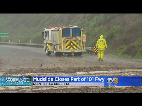 Mudslide Forces Closure Of 101 Freeway In Ventura County