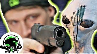 How fast can you kill an Alien? Colt 1911 vs Katana kill test! AlienGoBoom