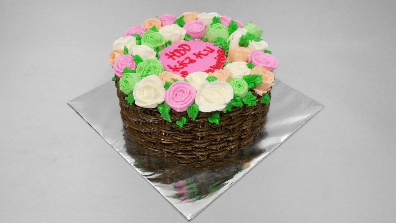 How To Make A Basket Of Flowers Cake : Make flower basket cake