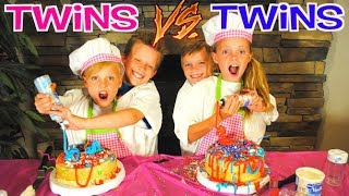 NOT MY ARMS BIRTHDAY CAKE CHALLENGE!  Ninja Kidz TV Twins VS Kids Fun TV Twins Team Up!