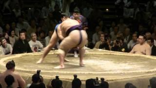 20110520 大相撲ガチンコ場所13日目鶴竜VS魁聖 鶴竜見事な下手ひねり.