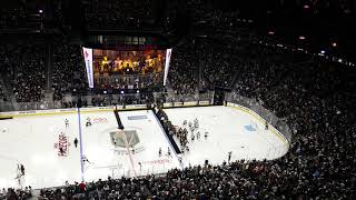 Atmosphere at T Mobile arena before home opener puck drop