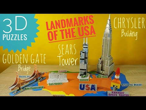 3D puzzles Chrysler Bulding Sears Tower Golden Gate Bridge Geography of the US for kids Attractions