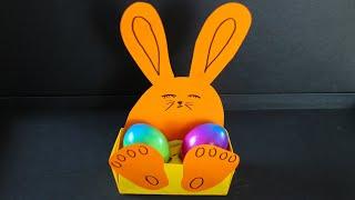 Basteln mit Papier: 'Osterhase' Schachtel für Ostern, Frühling, Muttertag & Geburtstag [W+]