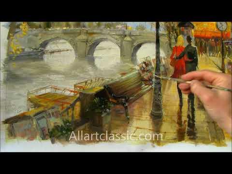 Paris Romance-Original Unique Oil Painting