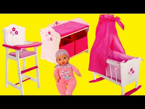 Thumbnail: Baby Dolls Nursery Centre Bayer Design Change Table Highchair & Cradle Baby Born Baby Annabell