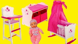 Baby Dolls Nursery Centre Bayer Design Change Table Highchair & Cradle Baby Born Baby Annabell