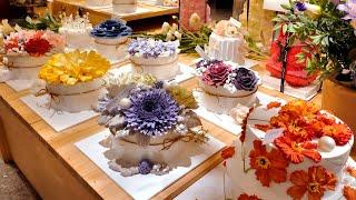 Как делается удивительный цветочный торт со взбитыми сливками | Корейский десерт