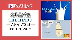 'The Hindu' Analysis for 13th October, 2019 (Current Affairs for UPSC/IAS)