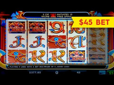 Cleopatra Slot Machine High Limit $45 MAX BET - Live Play Jackpot?! - 동영상