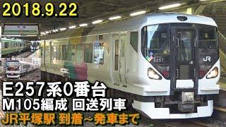 E257系0番台 M105編成 回送列車 JR平塚駅 到着~停車中の様子~折り返し発車まで 2018.9.22 夕方 thumbnail