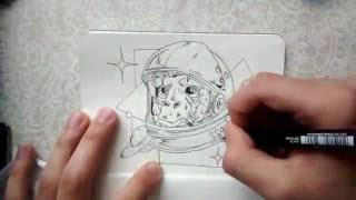 Space Monkey - Releitura - Speed Draw - Sketch