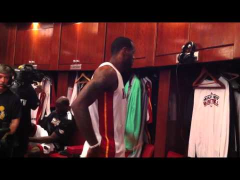 LeBRON JAMES LOCKER ROOM GAME 6 NBA FINALS 2011