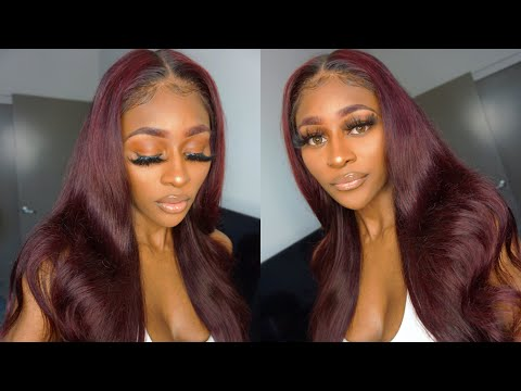 HOW TO DYE  BLACK HAIR RED WITHOUT BLEACH | Loreal Hicolor Red | RED/BURGUNDY 6x6 CLOSURE WIG