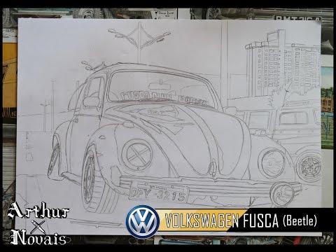 SPEED ART | Desenhando - Volkswagen FUSCA (Beetle) Pt1