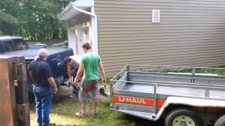 Loading an 8 ft hot tub on a U-Haul 6' x 12' utility trailer