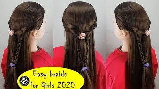 How to make very easy braided hair style for school? Braids for girls | long hairstyles 2020