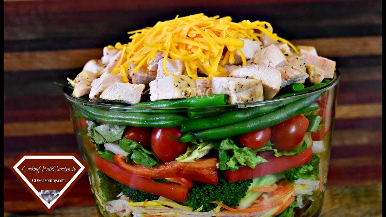 The BEST LAYERED CHICKEN SALAD RECIPE - EAT FRESH! |Cooking With Carolyn